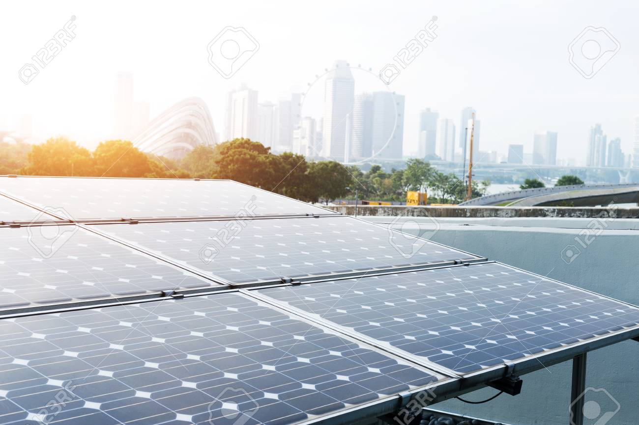solar panel and cityscape of singapore in blue sky - 88849312