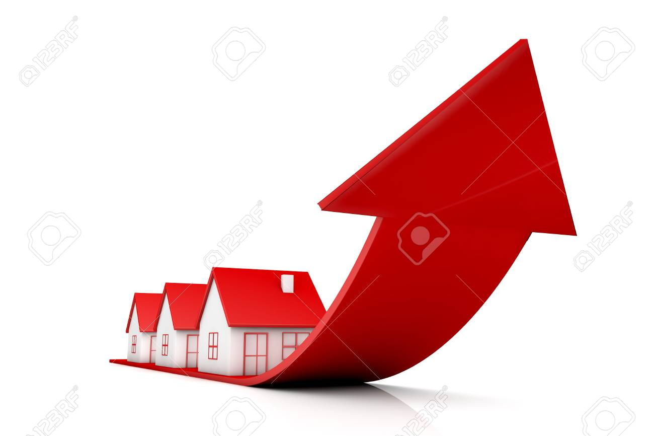 3d illustration house and red arrow growing up on white backgrounds - 88850426