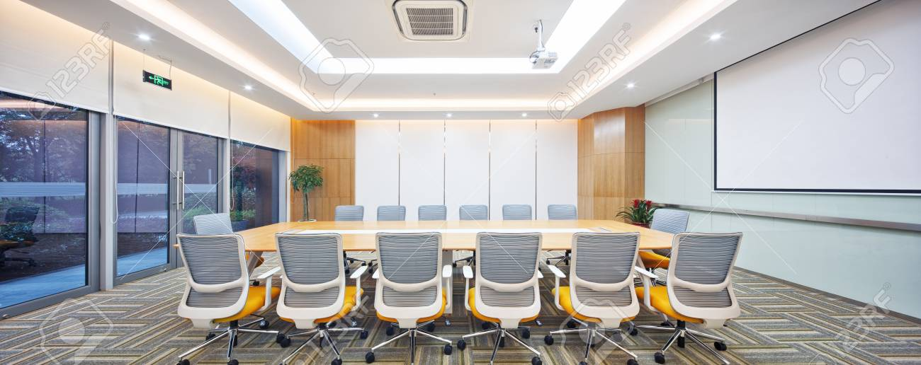 Decoration And Design Of Modern Meeting Room In Modern Company Stock ...