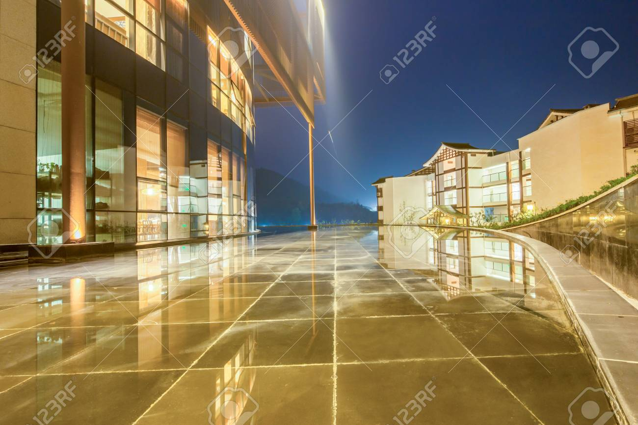 Modern Building With Glass Wall In Chongqing At Night Stock Photo ...