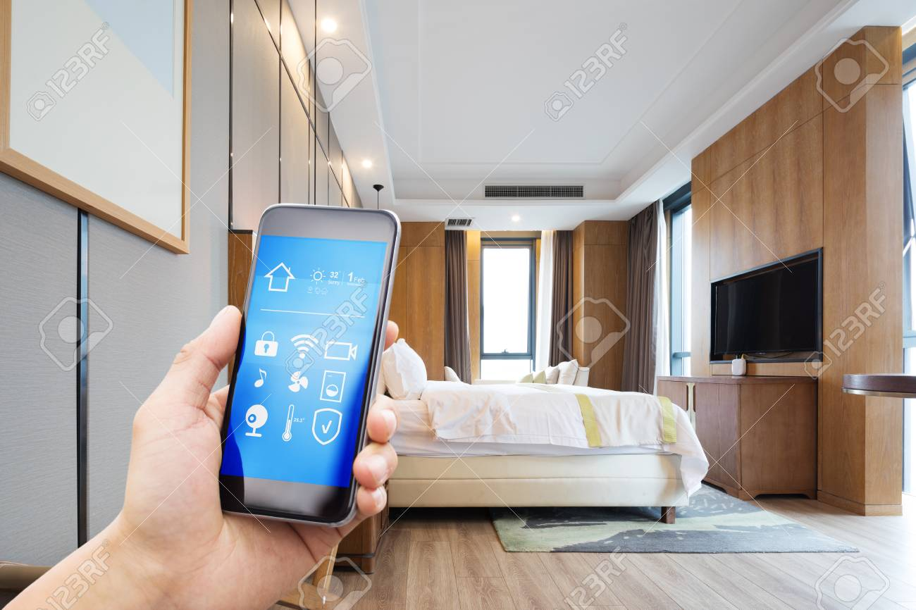 smart phone with smart home and modern - 101949298