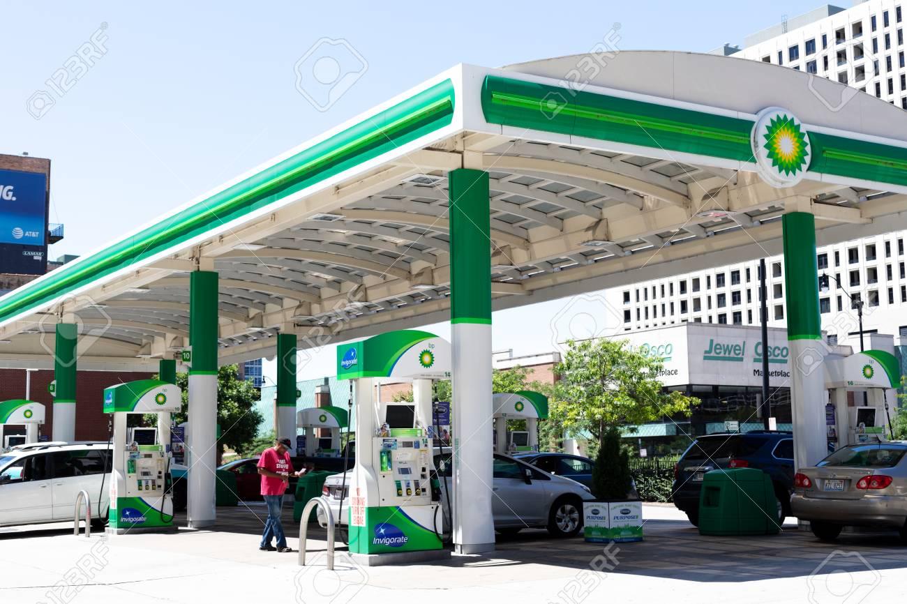 Chicago, US - Jul 18, 2018: BP or British Petroleum gas station