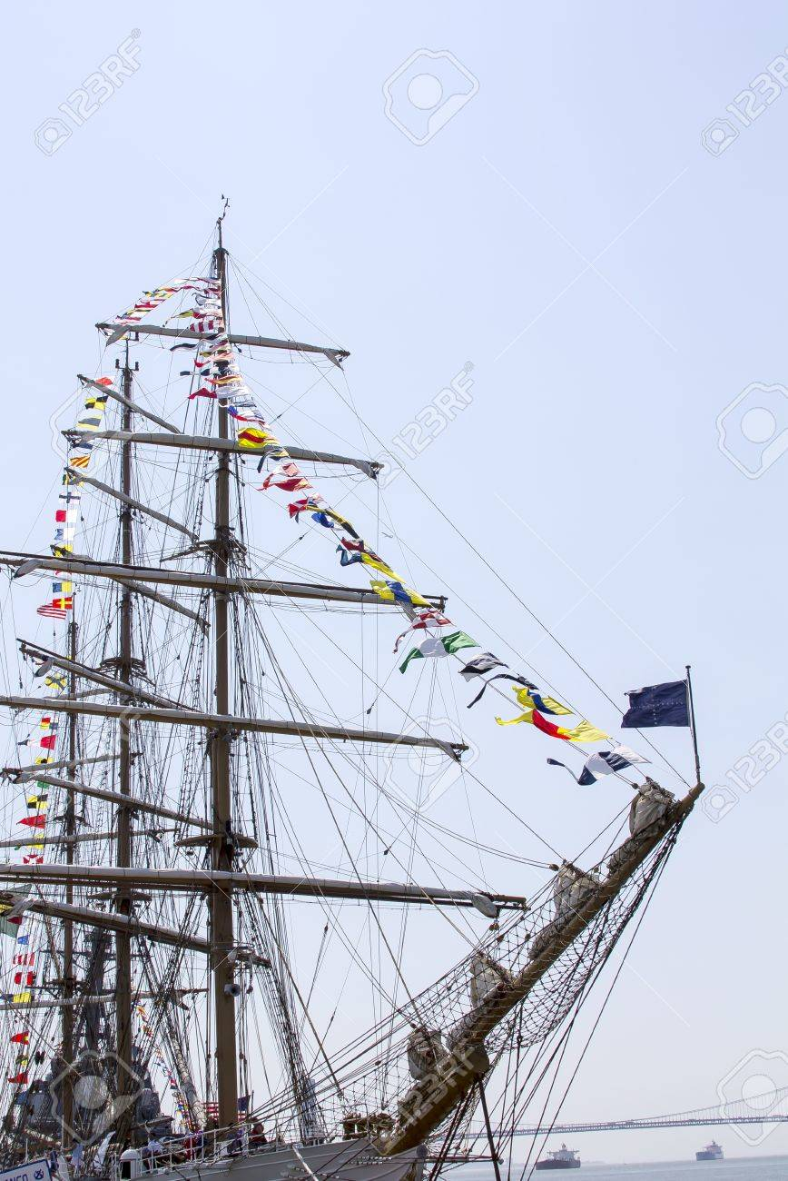 Tall ship with nautical flags Stock Photo - 17393261