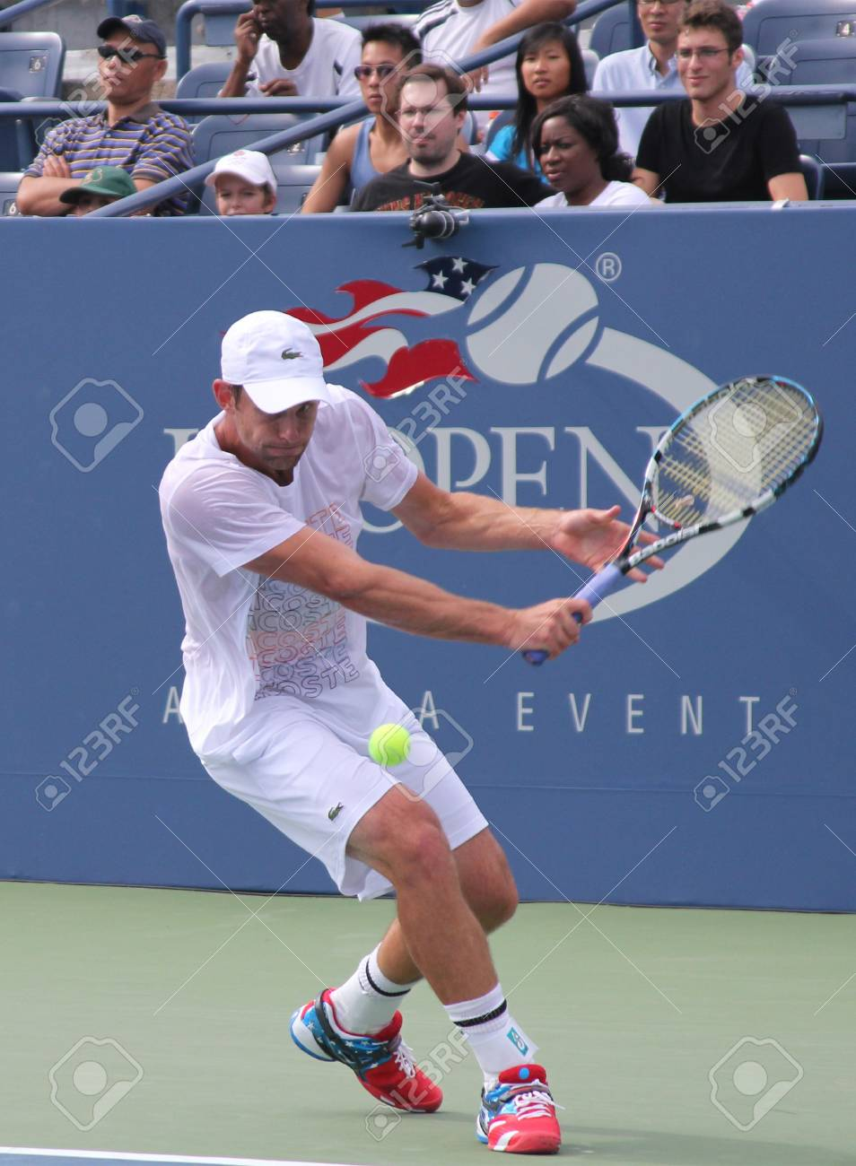 FLUSHING, NY - AUGUST 25: Grand Slam champion Andy Roddick practices for US Open at Louis Armstrong Stadium at Billie Jean King National Tennis Center on August 25, 2012 in Flushing, NY.  Stock Photo - 17522424