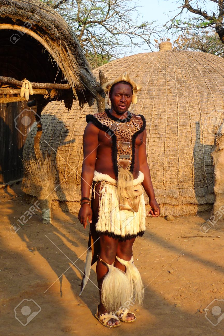 Zulu traditional dress in zulu kraal kwazulu natal - Zululand South Africa September 14 Zulu Warrior At The Great Kraal In Shakaland