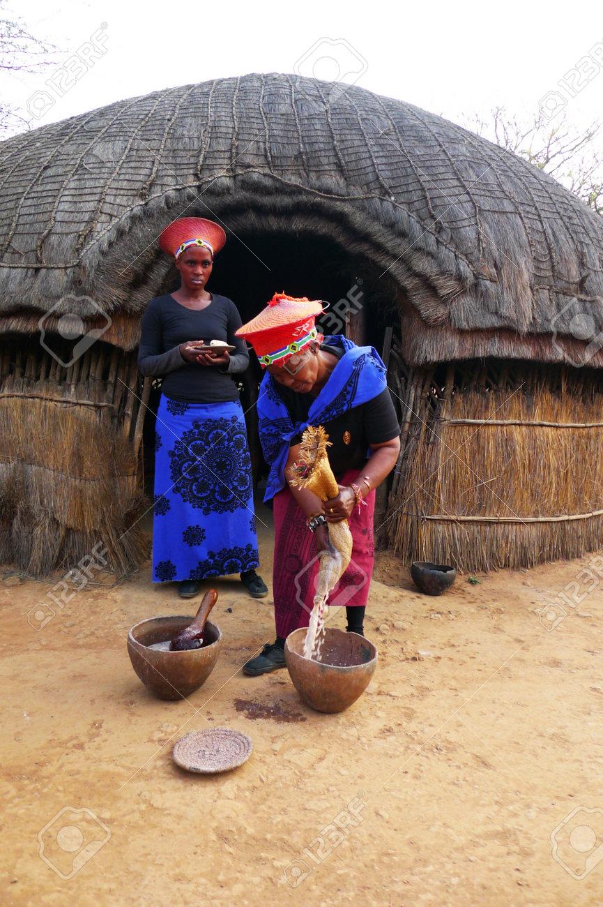 Zulu Shakaland Stock Photo - ZULULAND, SOUTH AFRICA - SEPTEMBER 14: Zulu woman in  traditional closes in Shakaland Zulu Village on September 14, 2009.