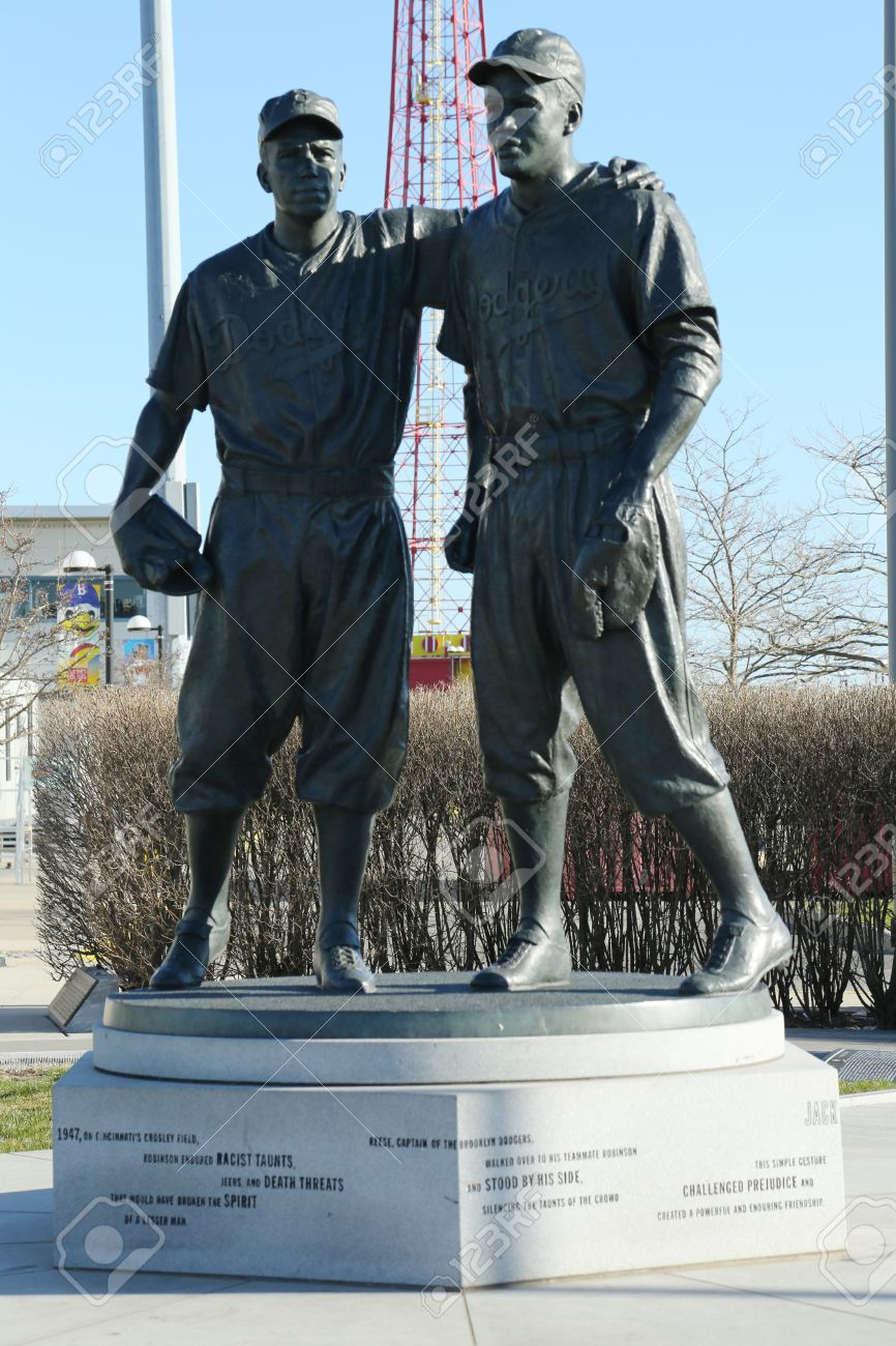 BROOKLYN, NY - APRIL 6: Jackie Robinson and  Pee Wee Reese Statue in Brooklyn in front of MCU ballpark on April 6, 2013. 42 is an upcoming 2013 Hollywood film about baseball player Jackie Robinson Stock Photo - 18900140