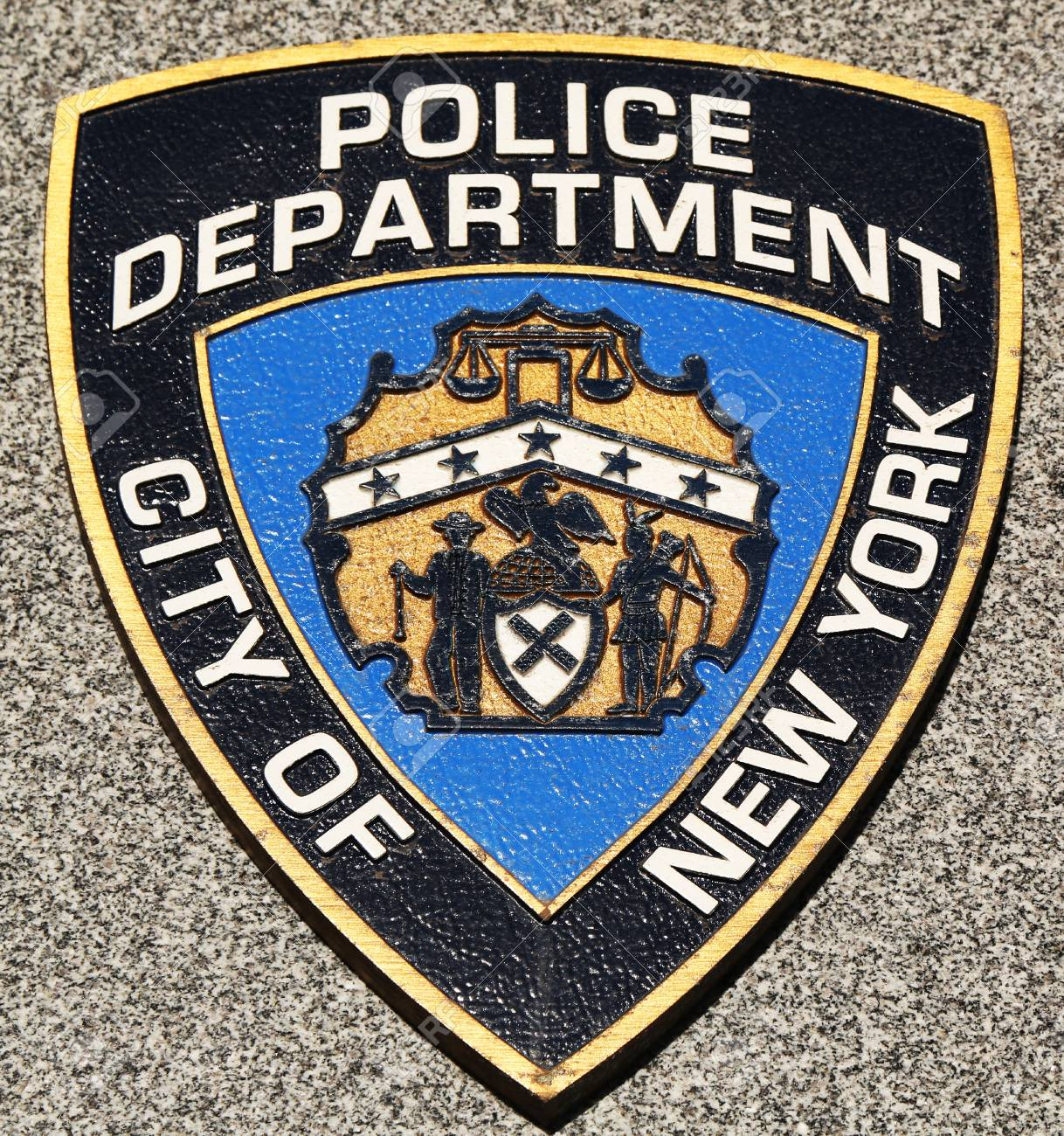 Brooklynnew York March 9 Nypd Emblem On Fallen Officers Memorial