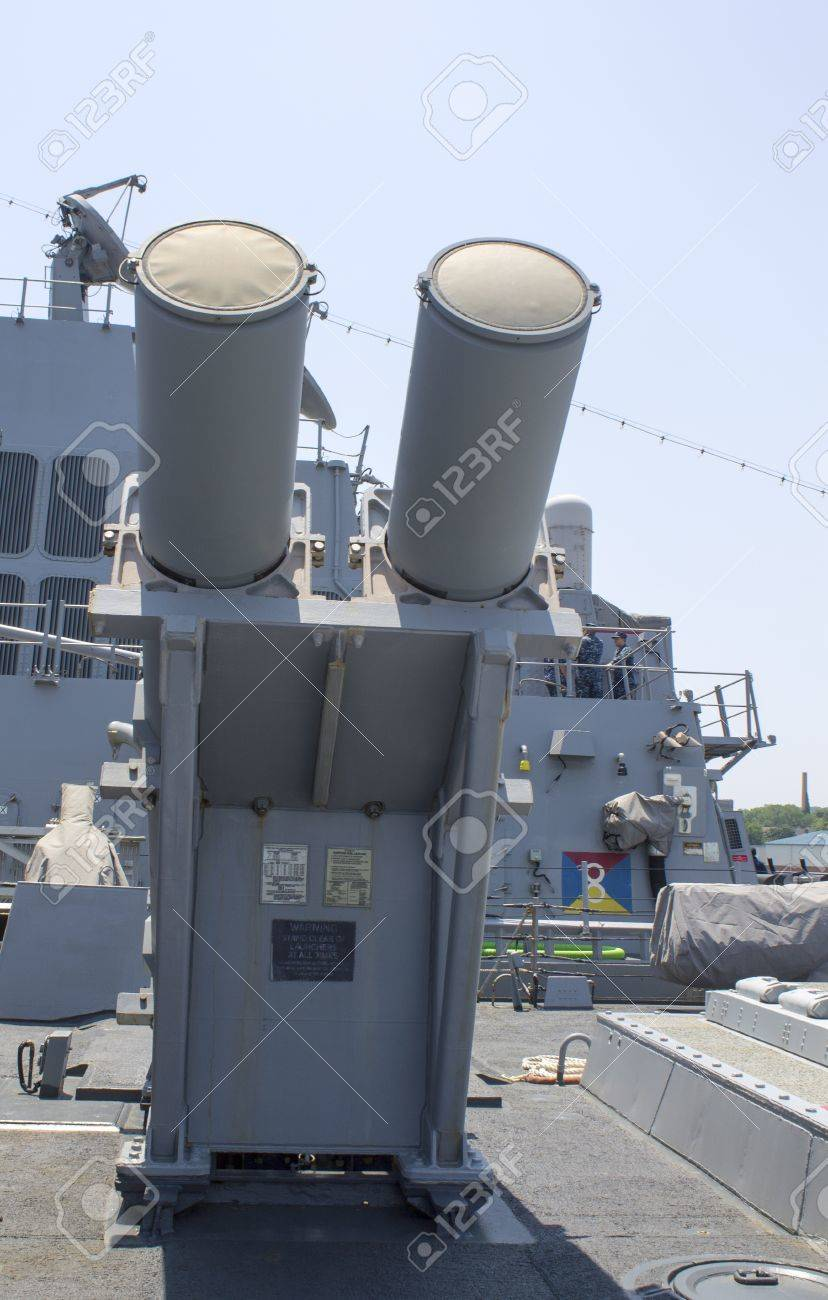 STATEN ISLAND, NEW YORK - MAY 29:Harpoon cruise missile launchers on the deck of US Navy destroyer during Fleet Week 2012 on May 29, 2012 in Staten Island, New York  Stock Photo - 19415166