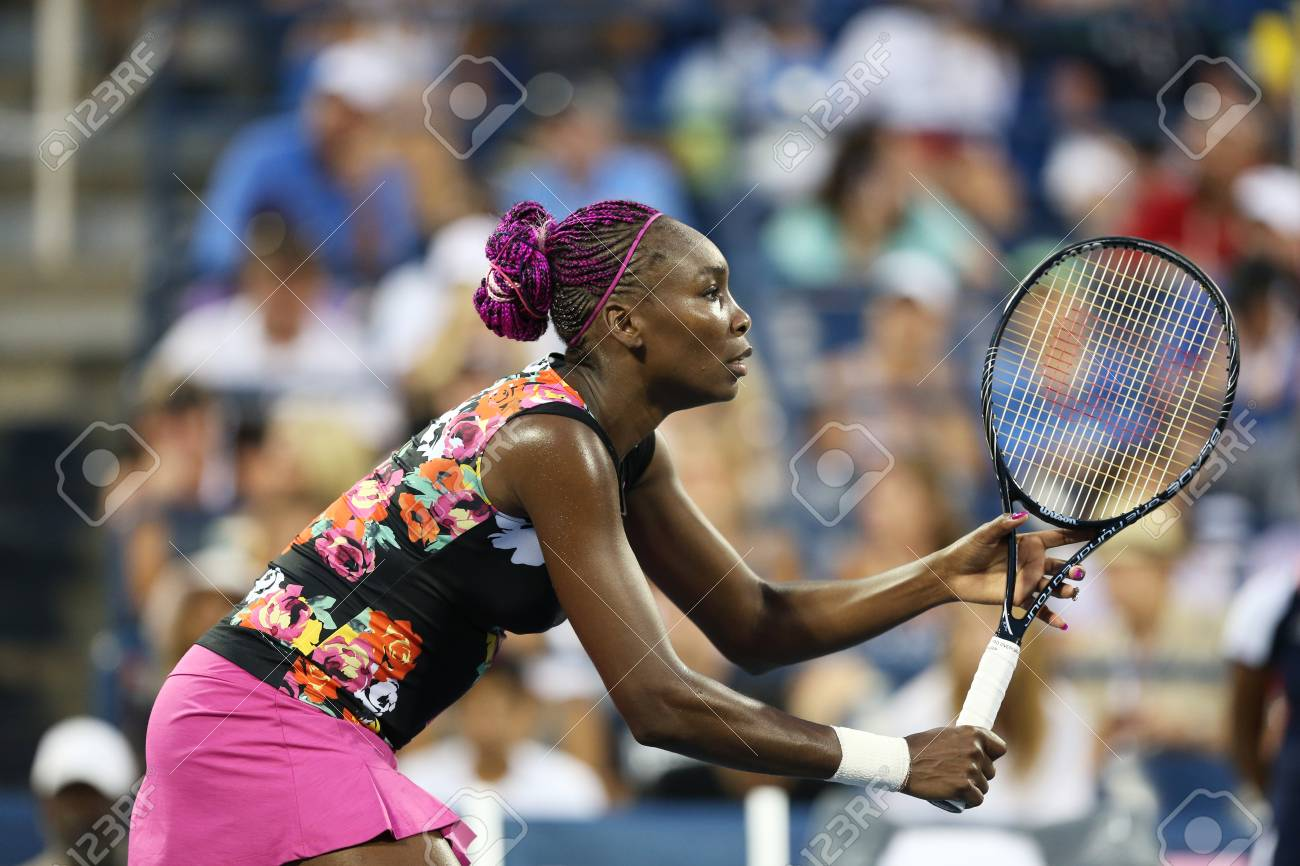 FLUSHING, NY - AUGUST 29   Nine times Grand Slam champion Venus Williams during her first round doubles match with teammate Serena Williams at US Open 2013  at Billie Jean King National Tennis Center on August 29, 2013 in Flushing, NY Stock Photo - 22434680