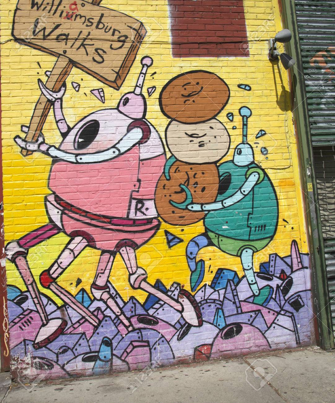 NEW YORK - MAY 6 Mural in Williamsburg section in Brooklyn on