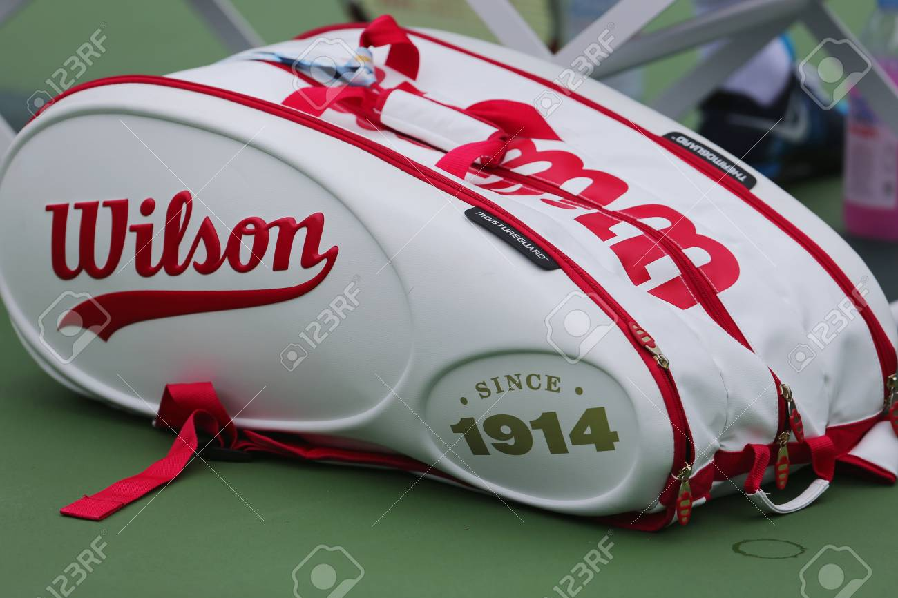 New York August 23 Wilson 100 Year Tour Tennis Bag At Us Open 2014 At Billie Jean King National Tennis Center On August 23 2014 In New York Stock Photo Picture And Royalty Free Image Image 31136874