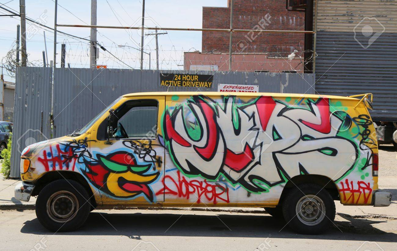 dac62dce6664 NEW YORK - JUNE 1  Van painted with graffiti at East Williamsburg in  Brooklyn on
