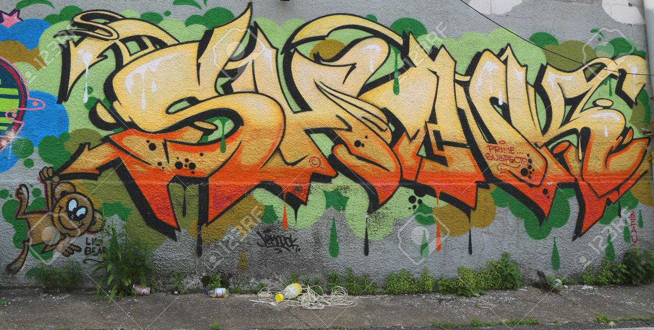 NEW YORK - JUNE 21: Graffiti art in Williamsburg section in Brooklyn