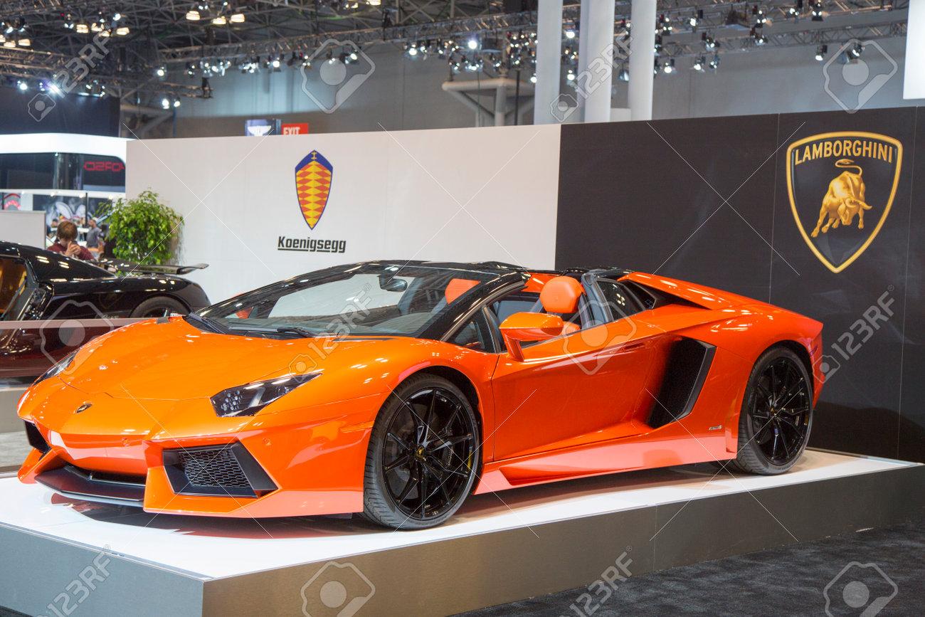 new york april 24 2014 lamborghini luxury sport car on display in new