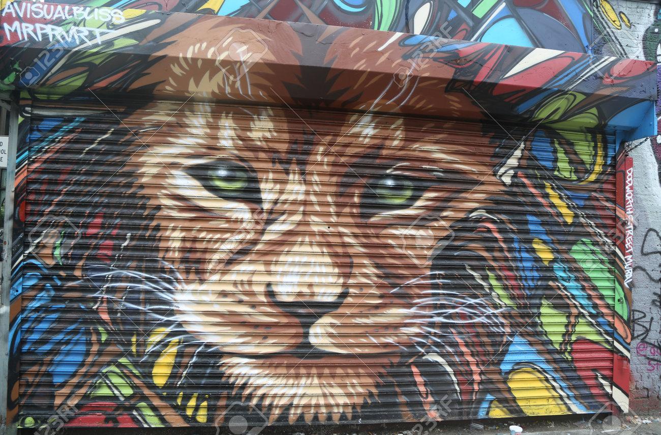 New York 16 Juin 2015 Art Mural à Dodworth Street à Brooklyn Une Peinture Murale Est Toute Uvre D Art Peinte Ou Appliquée Directement Sur Un Mur
