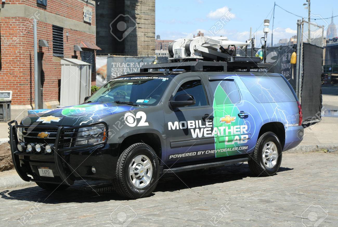 BROOKLYN, NY- JULY 19, 2016: CBS Channel 2 mobile weather lab