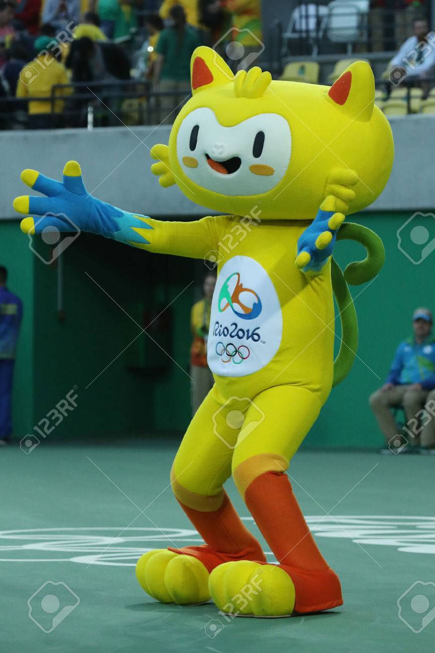 65e518af041 Stock Photo - Vinicius is the official mascot of the Rio 2016 Summer  Olympics at the Olympic Tennis Centre in Rio de Janeiro