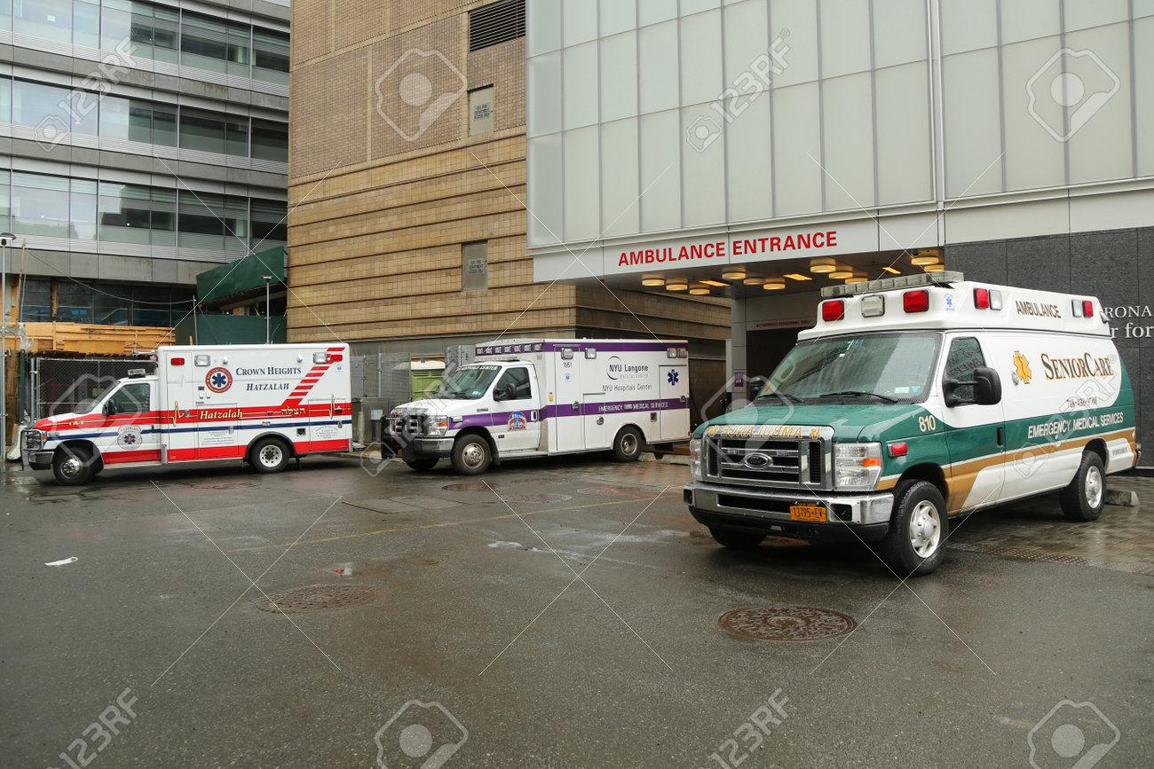 NEW YORK - APRIL 4, 2017: Ambulances parked at NYU Langone Medical