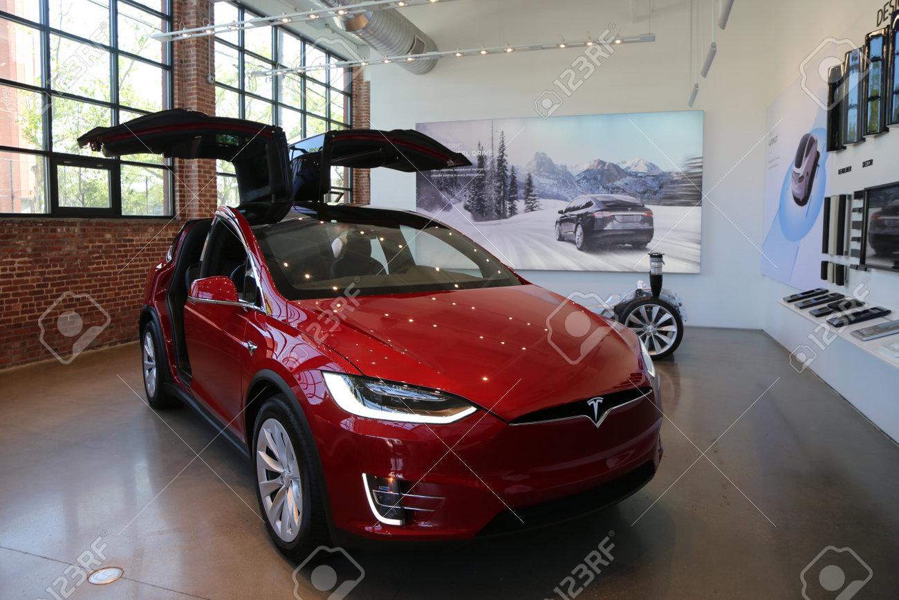 Brooklyn New York May 21 2017 Tesla Model X On Display At