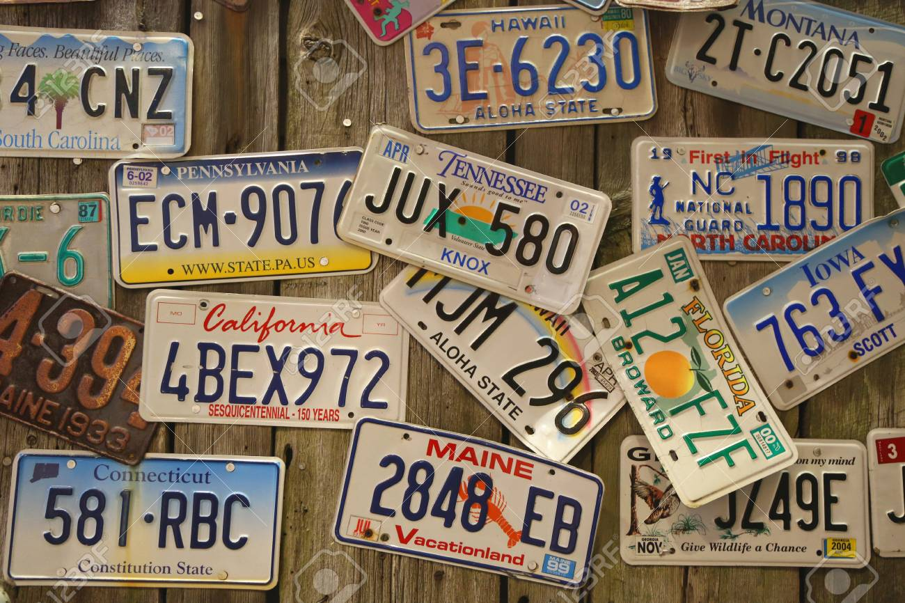 BAR HARBOR, MAINE - JULY 2, 2017: Old Car License Plates On The ...
