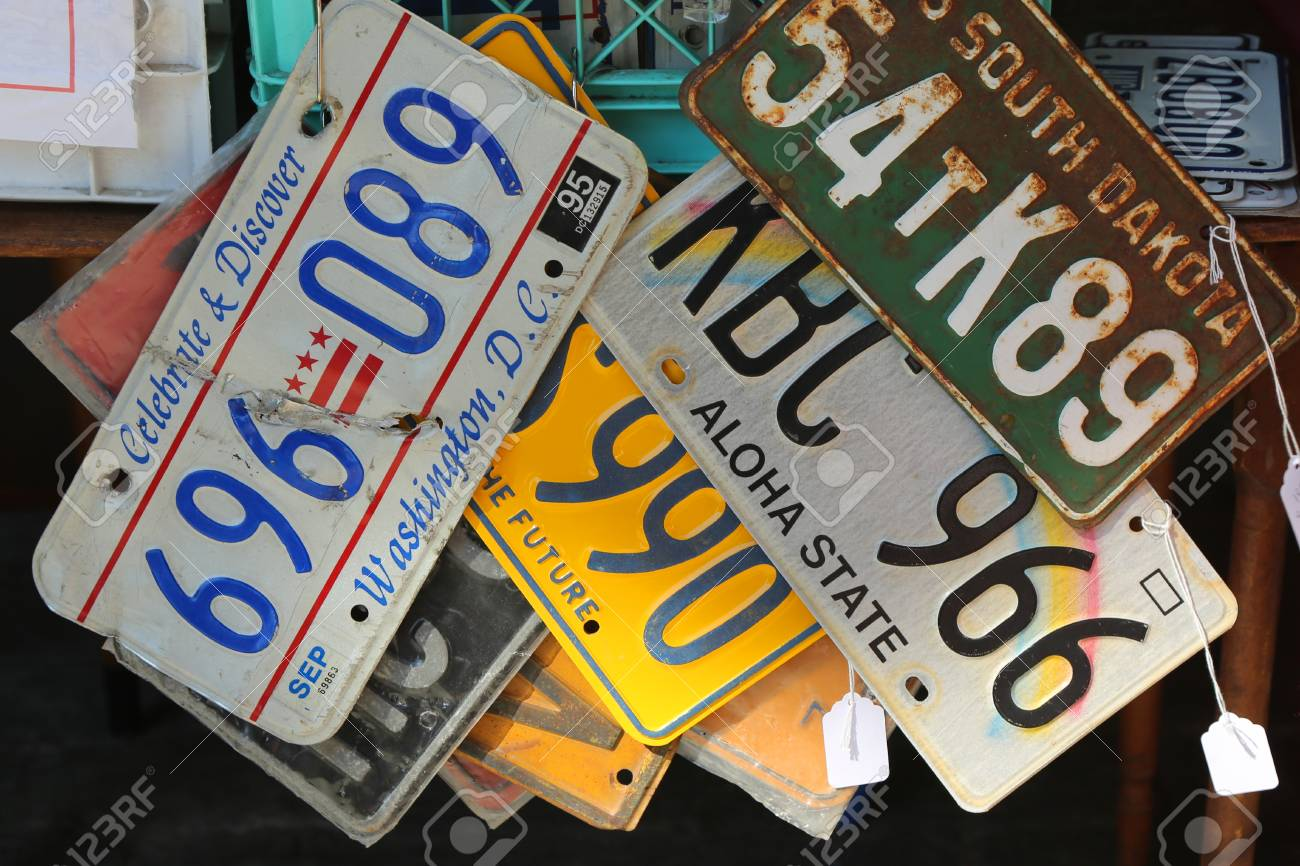 BROOKLYN, NEW YORK - AUGUST 13, 2017: Old Car License Plates.. Stock ...