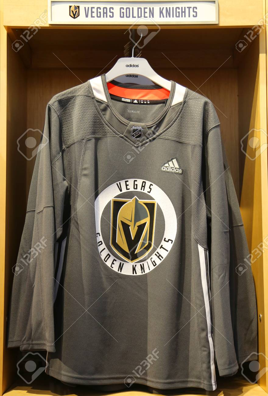 the latest 3c7f5 01743 NEW YORK - APRIL 26, 2018: The Vegas Golden Knights jersey on..