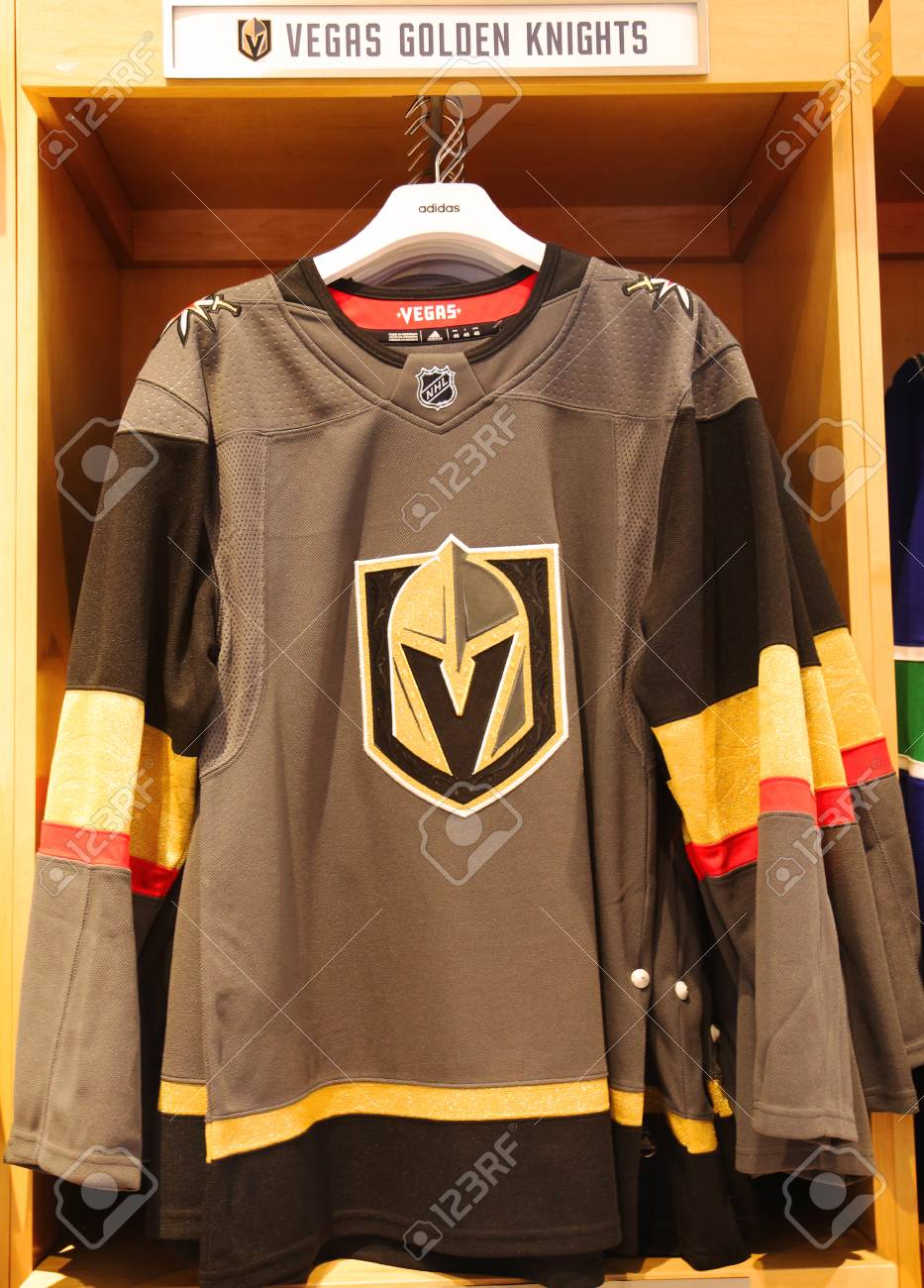 the latest c3319 4a1e6 NEW YORK - APRIL 26, 2018: The Vegas Golden Knights jersey on..