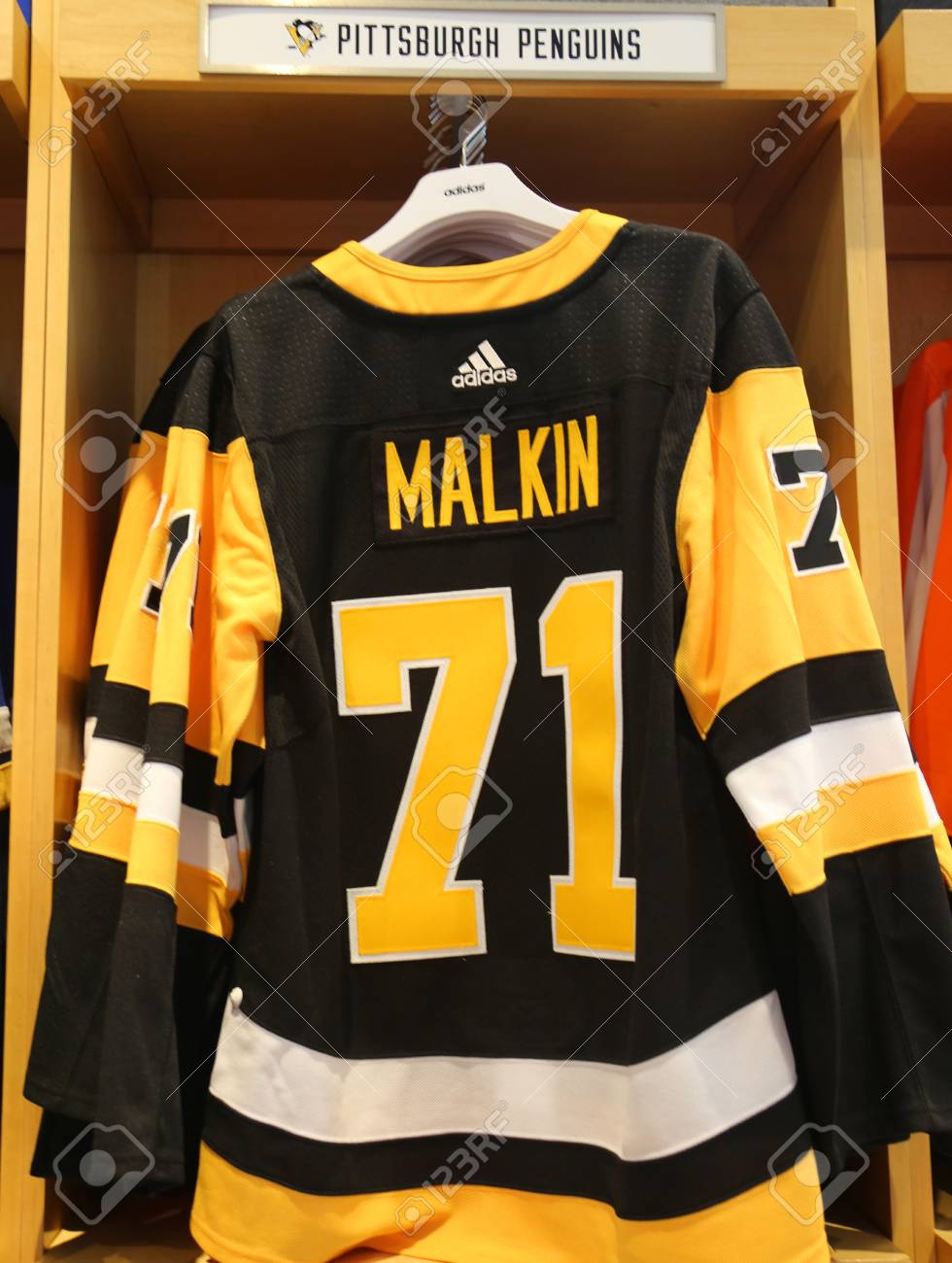 brand new c0aaa 493bb NEW YORK - APRIL 26, 2018: Evgeni Malkin's Pittsburgh Penguins..