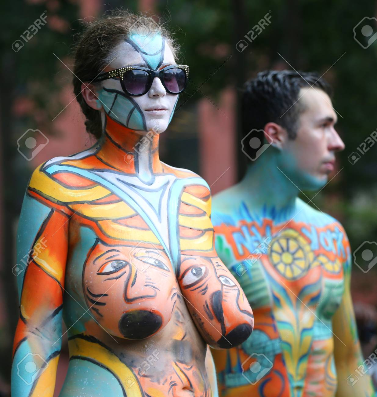New York July 14 2018 Artists Paint Fully Nude Models Of