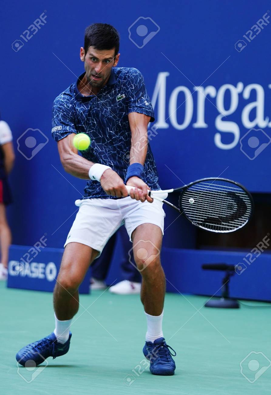 NEW YORK SEPTEMBER 3, 2018: 13 time Grand Slam champion Novak Djokovic of Serbia in action during his 2018 US Open round of 16 match at Billie Jean