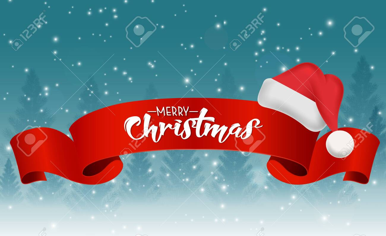 Christmas background with red ribbon and santa hat - 151217449