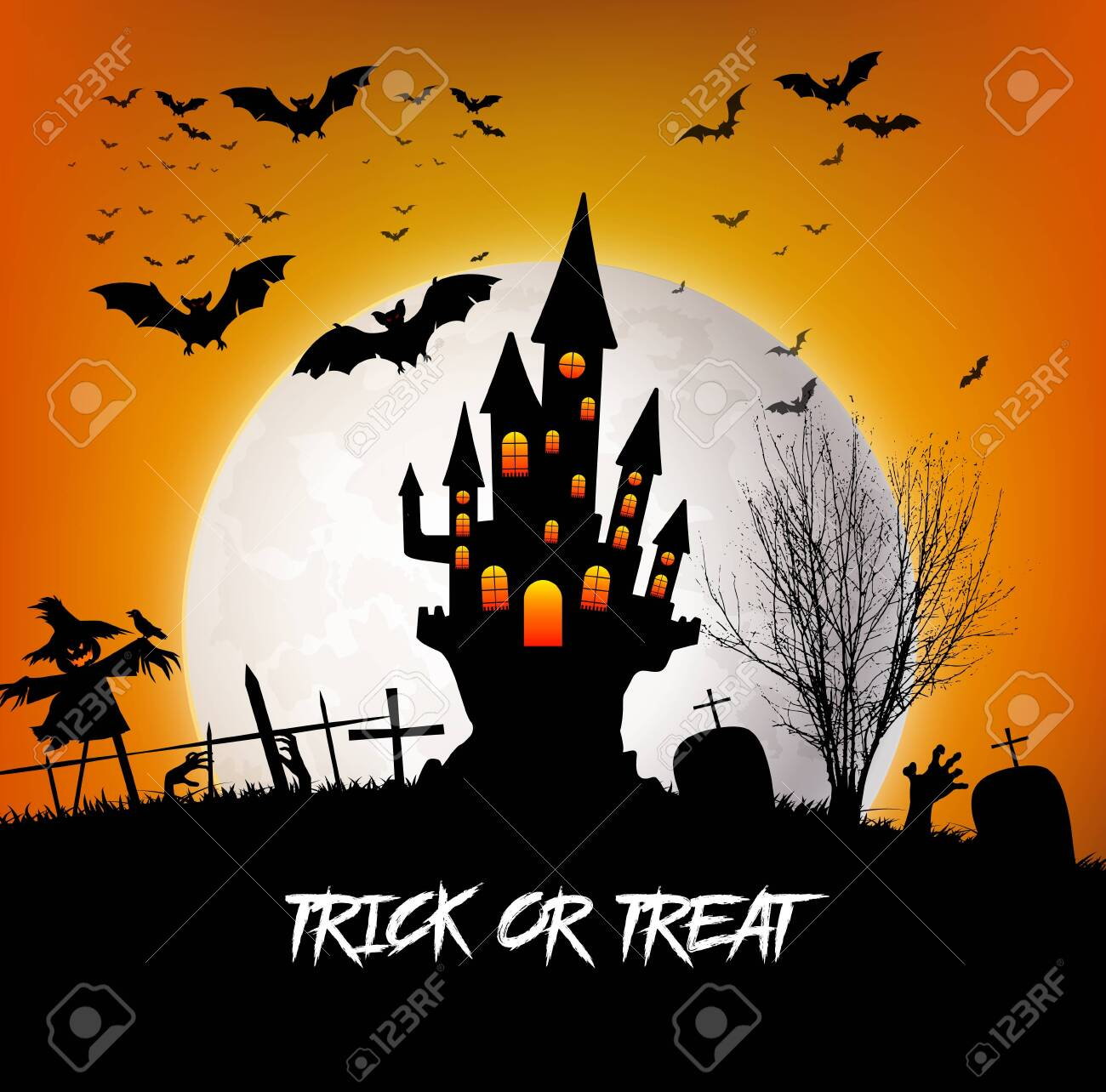Trick or Treat Halloween with castle and moon - 151531822