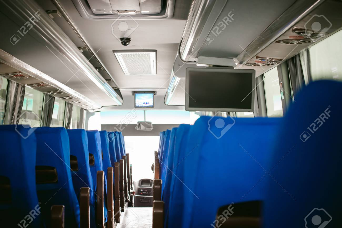 Blue Salon tourist bus transport. advertising space on the monitor - 71999951