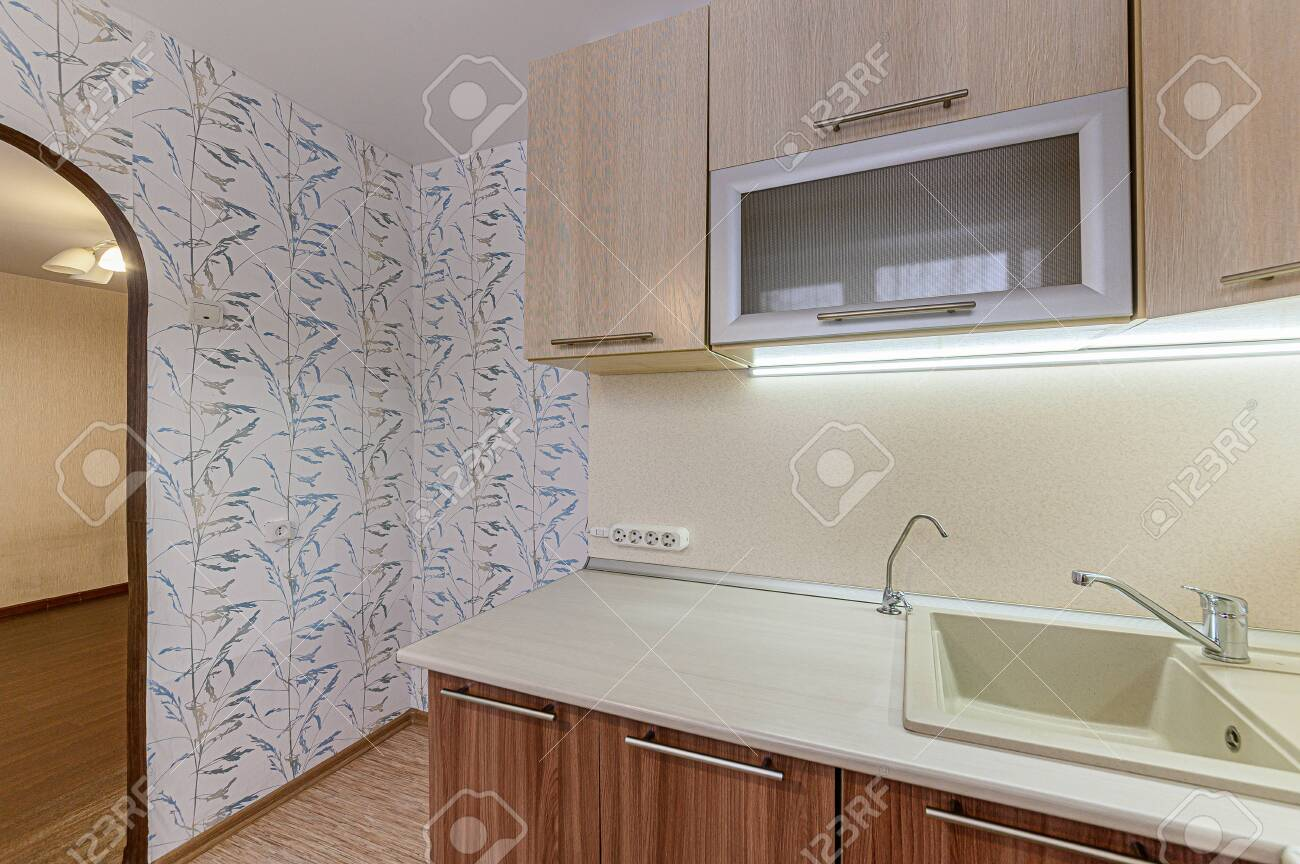 Russia, Moscow- February 07, 2020: interior room apartment modern bright cozy atmosphere. general cleaning, home decoration, preparation of house for sale. kitchen, dining area - 152628292