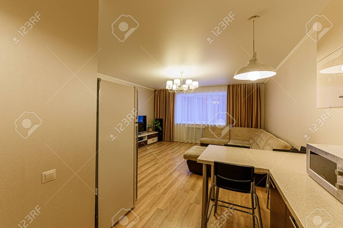 Russia, Moscow- February 07, 2020: interior room apartment modern bright cozy atmosphere. general cleaning, home decoration, preparation of house for sale. kitchen, dining area - 152628291