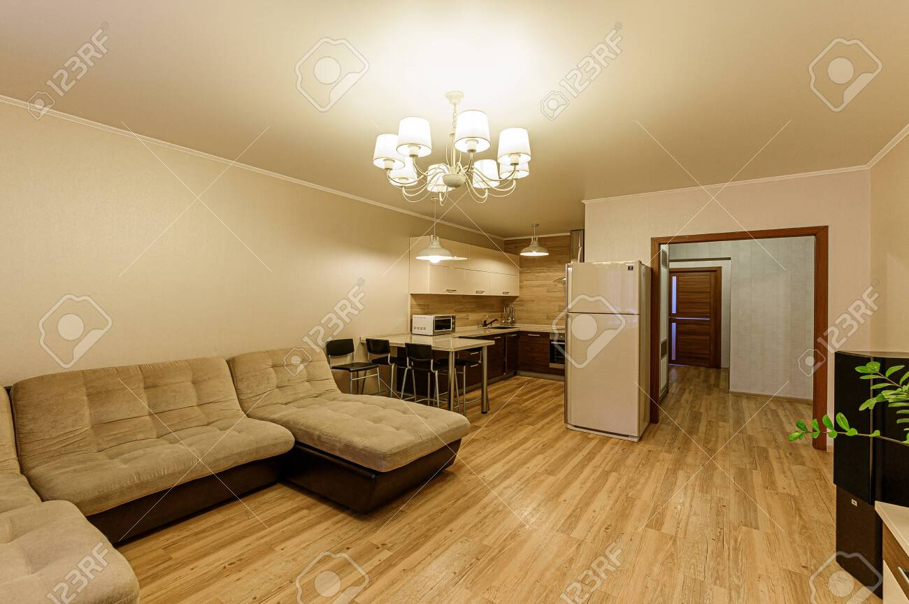 Russia, Moscow- February 07, 2020: interior room apartment modern bright cozy atmosphere. general cleaning, home decoration, preparation of house for sale - 152628298