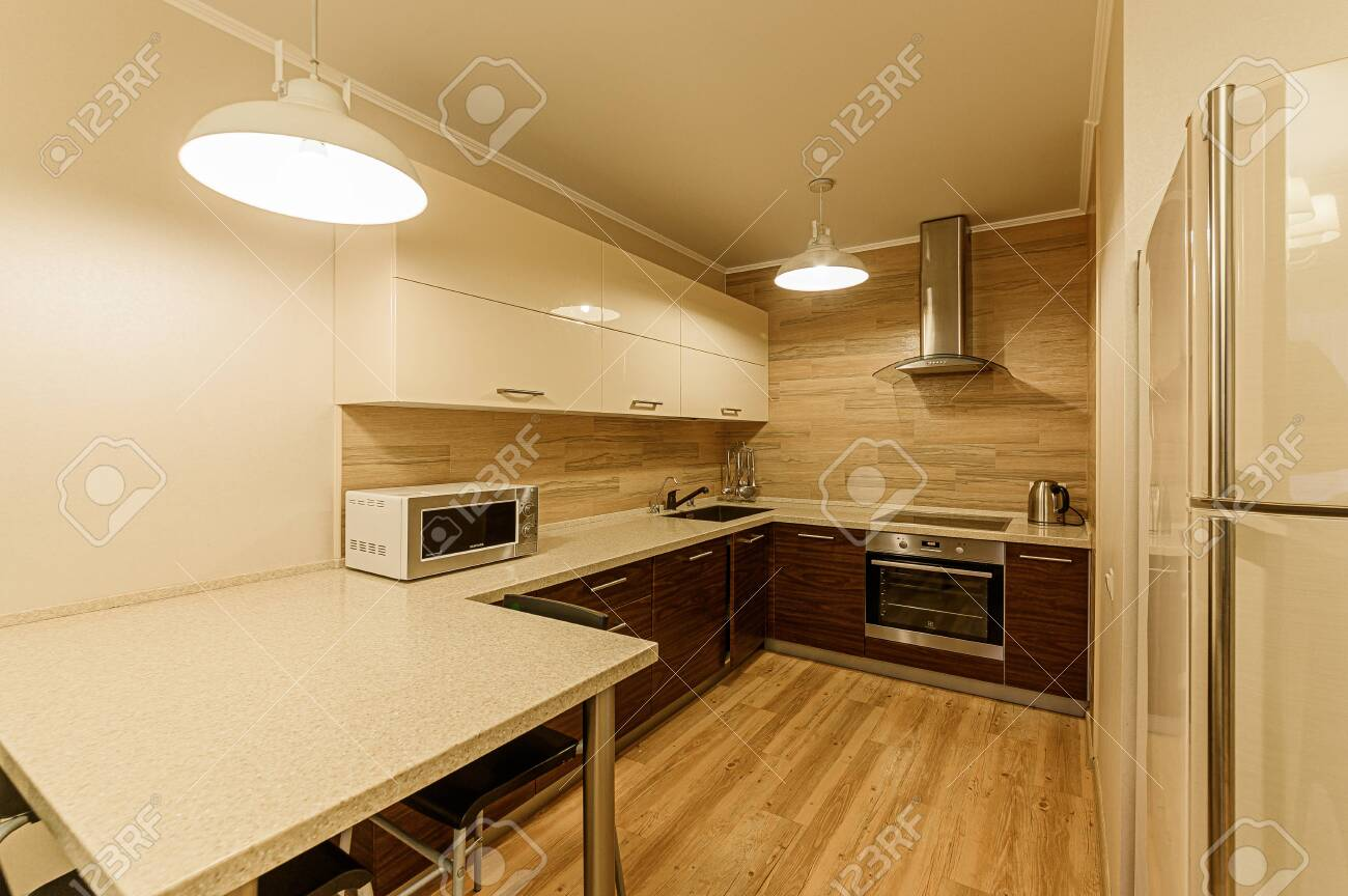 Russia, Moscow- February 07, 2020: interior room apartment modern bright cozy atmosphere. general cleaning, home decoration, preparation of house for sale - 152628296