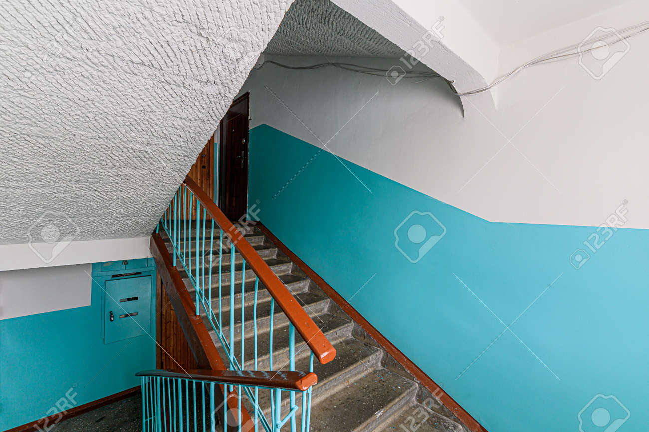 Russia, Moscow- February 07, 2020: interior public place, house entrance. doors, walls, corridors staircase - 152628300