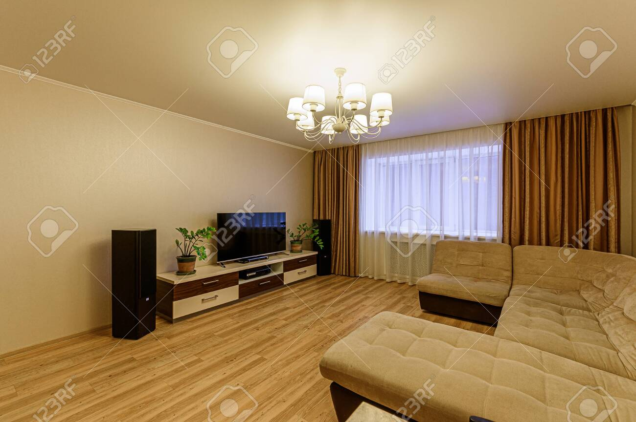 Russia, Moscow- February 07, 2020: interior room apartment modern bright cozy atmosphere. general cleaning, home decoration, preparation of house for sale - 152628304