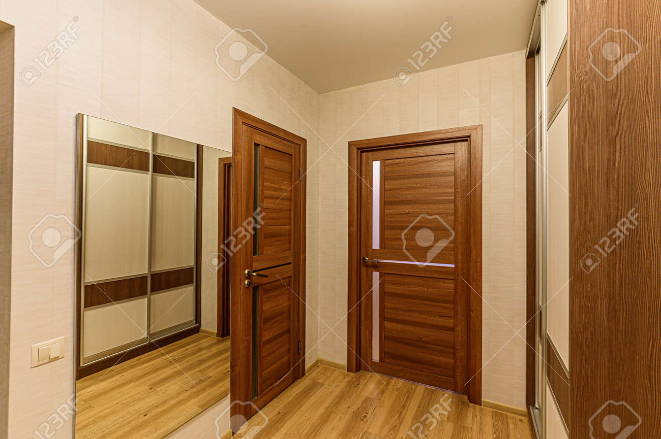 Russia, Moscow- February 07, 2020: interior room apartment modern bright cozy atmosphere. general cleaning, home decoration, preparation of house for sale. room doors, repair corridor - 152628305