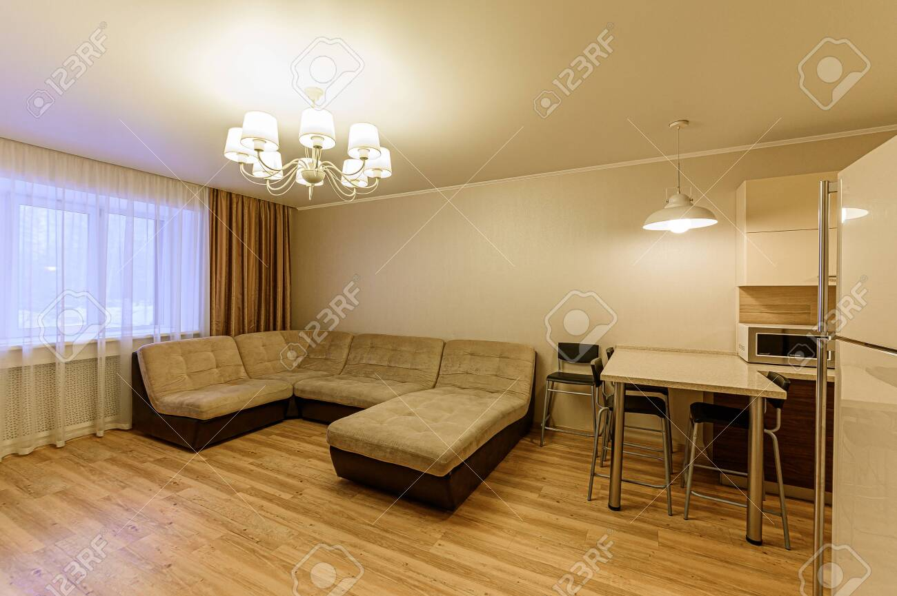 Russia, Moscow- February 07, 2020: interior room apartment modern bright cozy atmosphere. general cleaning, home decoration, preparation of house for sale - 152628306