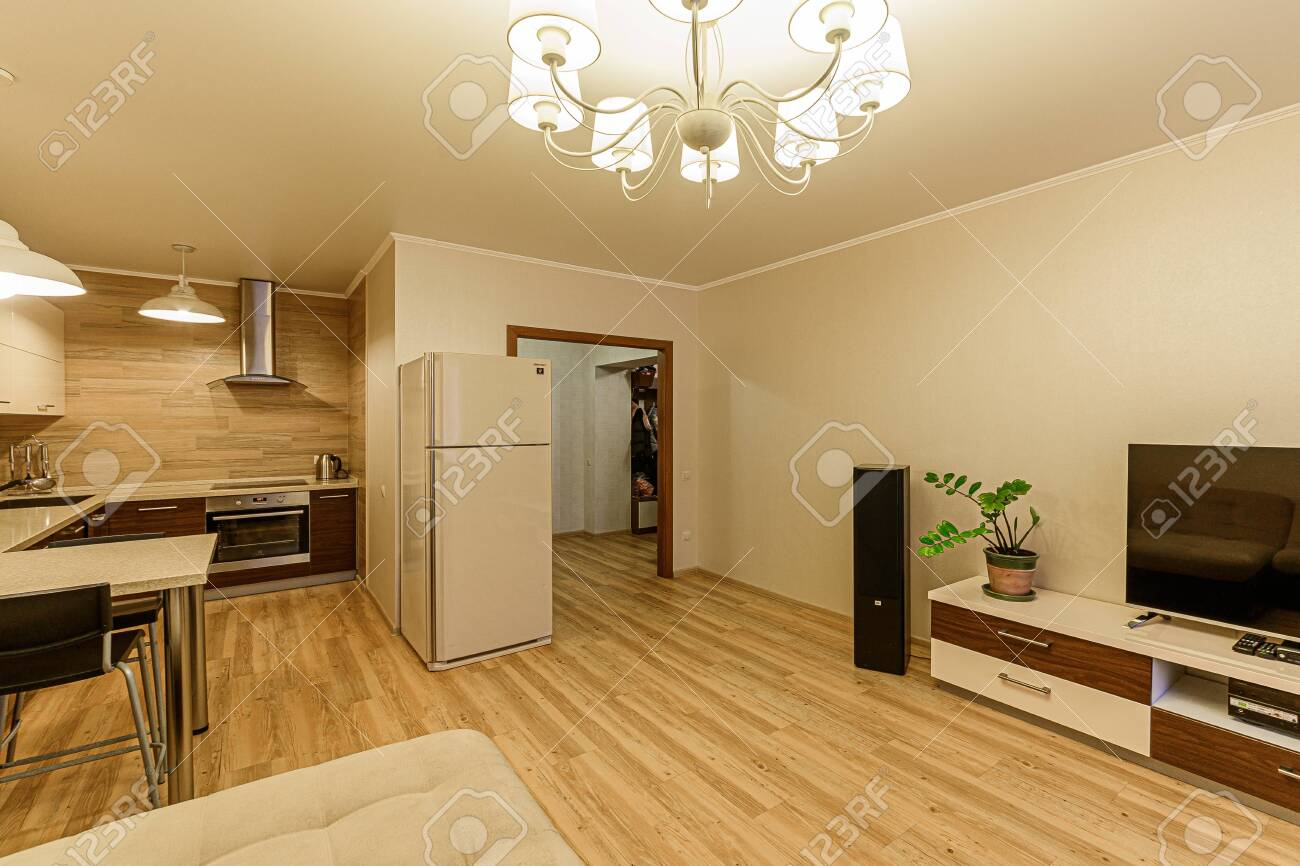 Russia, Moscow- February 07, 2020: interior room apartment modern bright cozy atmosphere. general cleaning, home decoration, preparation of house for sale - 152628268