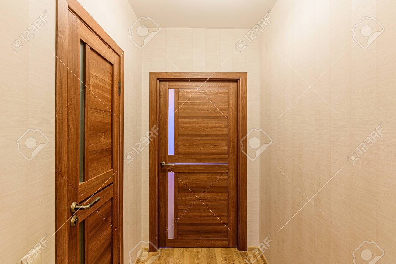 Russia, Moscow- February 07, 2020: interior room apartment modern bright cozy atmosphere. general cleaning, home decoration, preparation of house for sale. room doors, repair corridor - 152628274