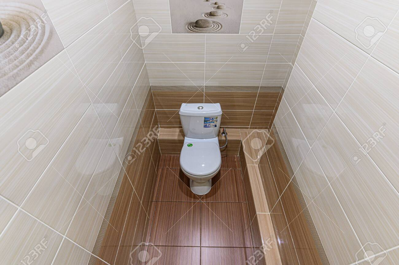 Russia, Moscow- February 07, 2020: interior room apartment modern bright cozy atmosphere. bathroom, sink, decoration elements, toilet - 152628276
