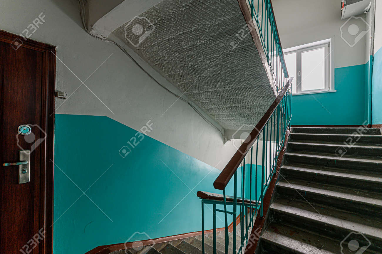 Russia, Moscow- February 07, 2020: interior public place, house entrance. doors, walls, corridors staircase - 152628285