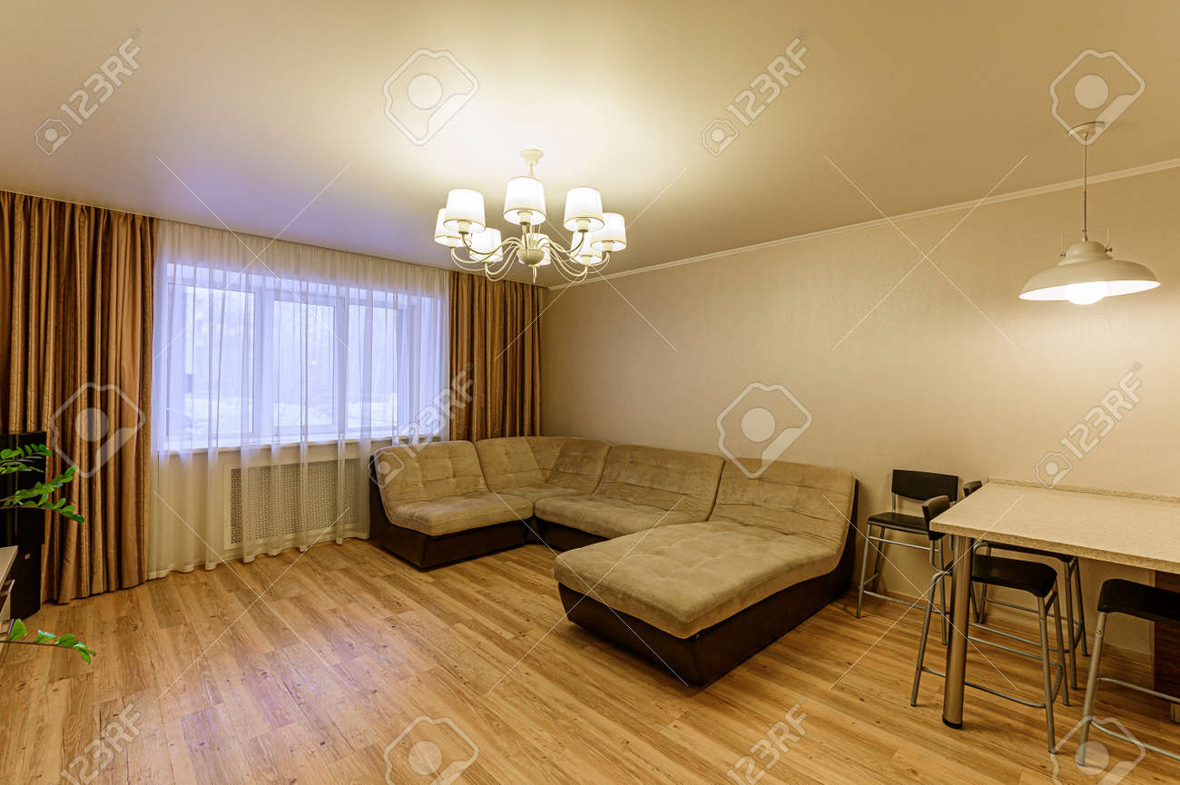 Russia, Moscow- February 07, 2020: interior room apartment modern bright cozy atmosphere. general cleaning, home decoration, preparation of house for sale - 152628250