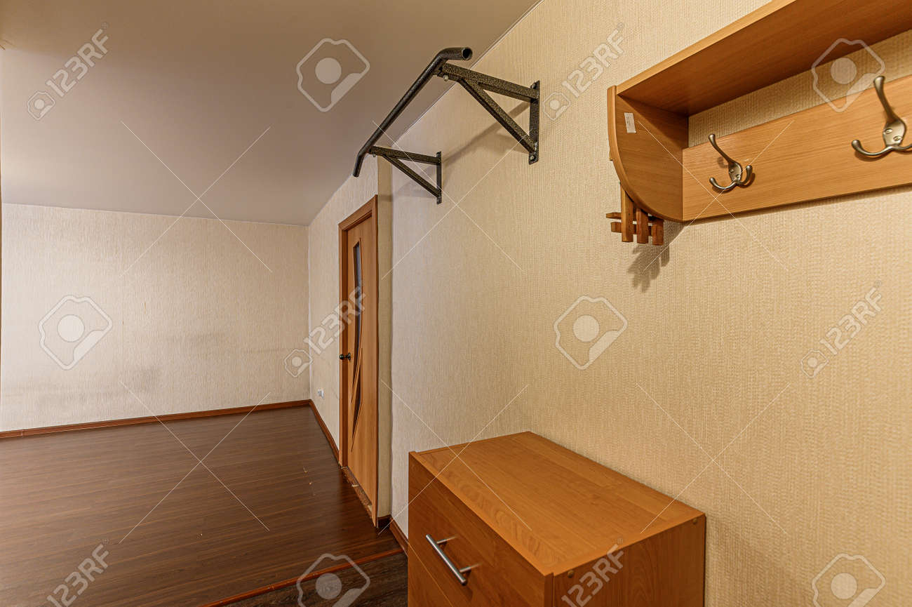 Russia, Moscow- February 07, 2020: interior room apartment modern bright cozy atmosphere. general cleaning, home decoration, preparation of house for sale. room doors, repair corridor - 152628255