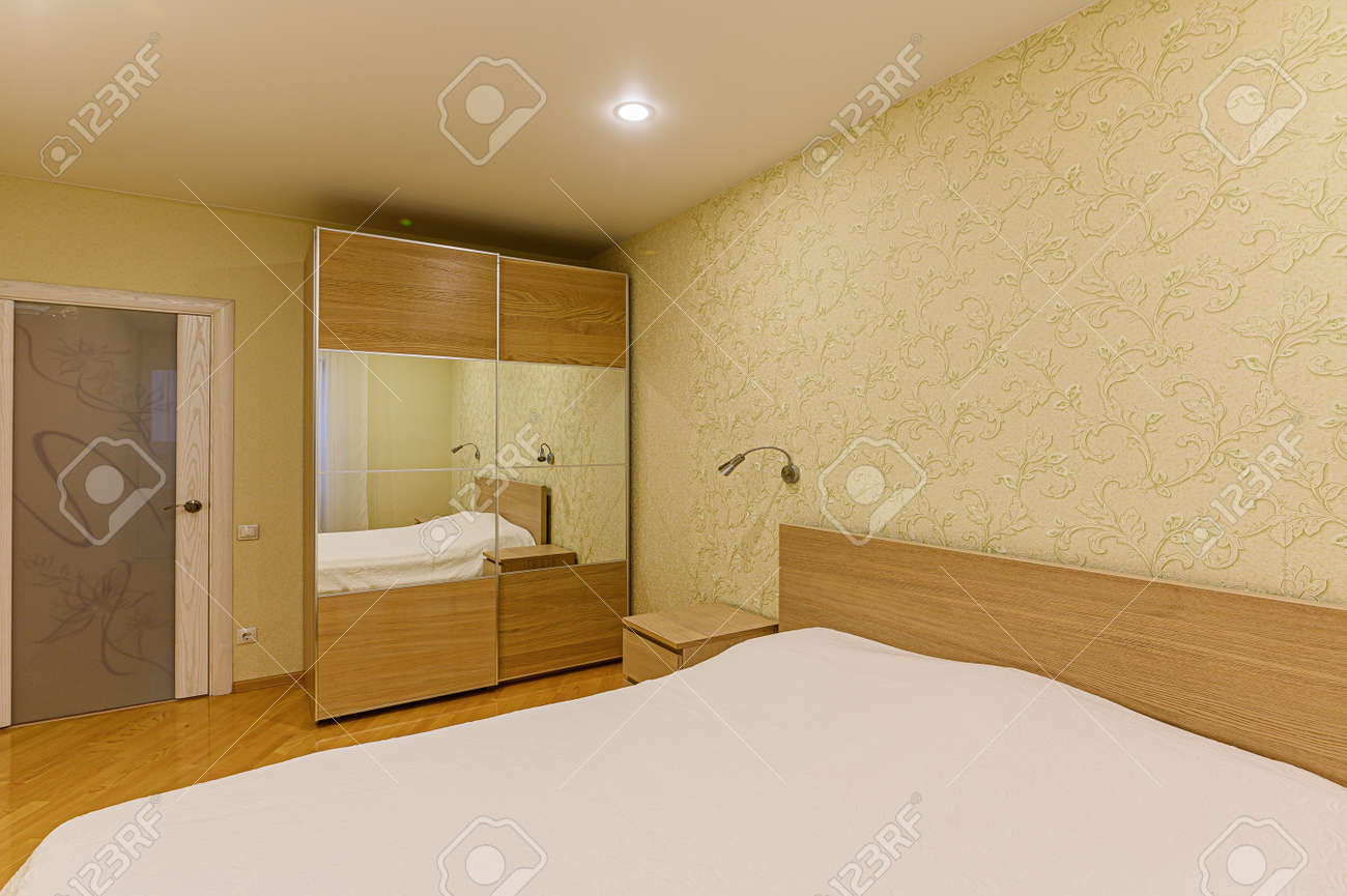 Russia, Moscow- February 07, 2020: interior room apartment modern bright cozy atmosphere. general cleaning, home decoration, preparation of house for sale - 152628262