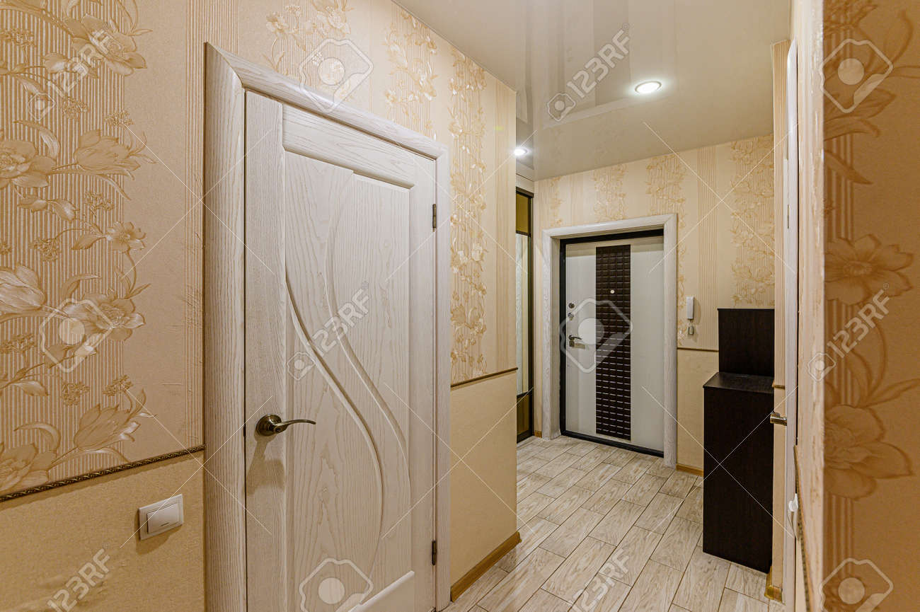 Russia, Moscow- February 07, 2020: interior room apartment modern bright cozy atmosphere. general cleaning, home decoration, preparation of house for sale. room doors, repair corridor - 152628264